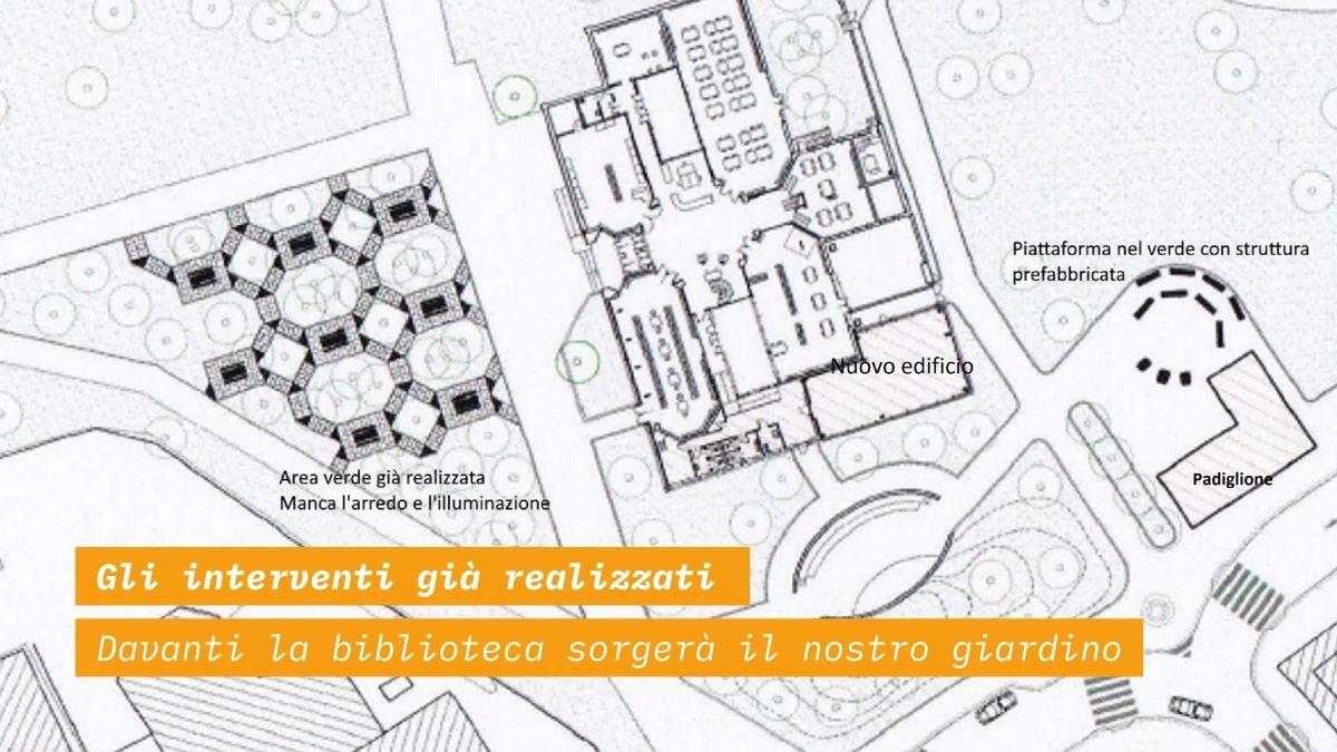 La planimetria della biblioteca di Baggio, con i nuovi spazi progettati anche dai cittadini